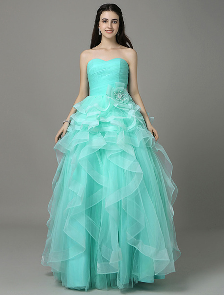 Cockatoo Prom Dress Floor-Length Tulle Pleated A-Line Strapless Quinceanera Dress фото