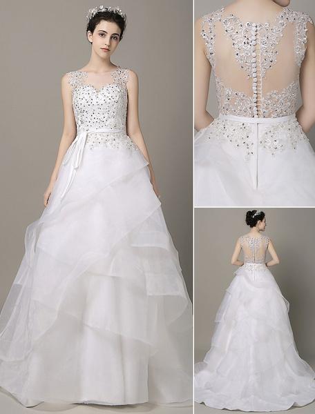 A-Linie Brautkleid Organza Perlen-Applikation mit Schleppe Hochzeitskleid Milanoo