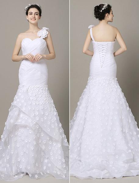 One-Shoulder White Wedding Dress Chaple Train Organza Flowers Applique Tulle Mermaid Bridal Gown  M