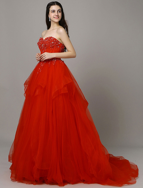 Red Prom Dress Lace Applique Beading Tulle Tiered Court Train A-Line Quinceanera Dress