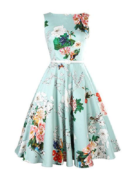 Blue Floral Print Flare Dress Sash Vintage Dress For Women фото