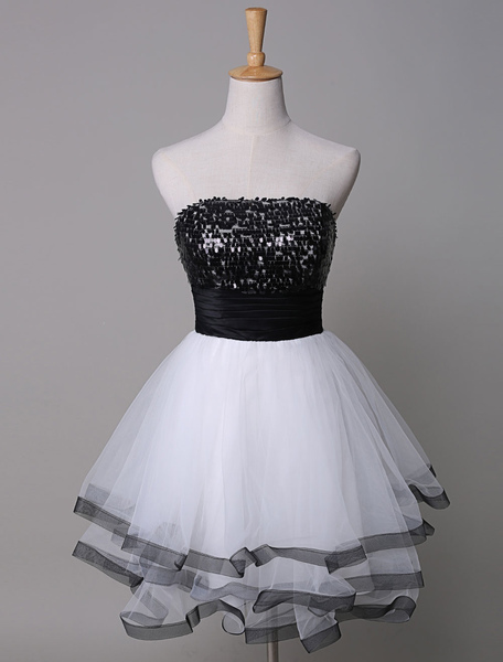 Sequin Prom Dress Strapless Tow-Tone Tiered Tulle Short Homecoming Dress фото