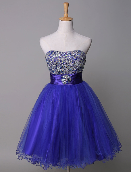 Strapless Prom Dress Royal Blue Rhinestone Beading Tulle A-Line Mini Homecoming Dress With Sash