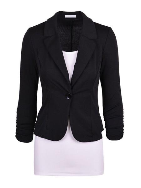 Black Buttons Slim Fit Cotton Blazer for Women фото