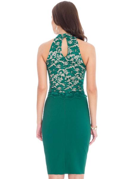 Milanoo / Corte de encaje verde vestido Bodycon vestido Midi