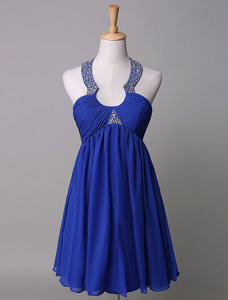 Halter Cocktail Dress Empire Sleeveless Chiffon Pleats Beading Party Dress, Royal blue