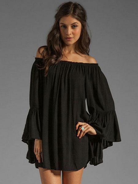 Black Off-The-Shoulder Mini Dress Chiffon Shift Dress фото