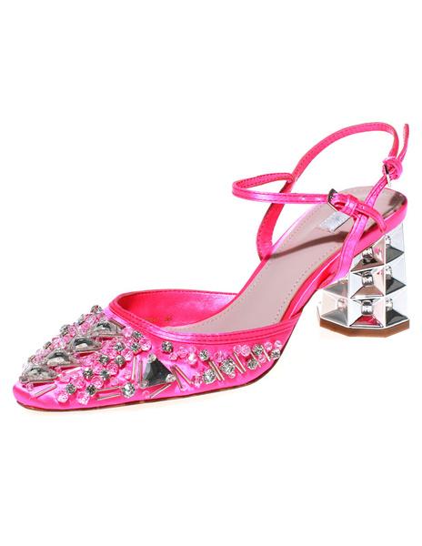 High Heels Satin Mandel Toe Chunky Heel Strass attraktive Frauen