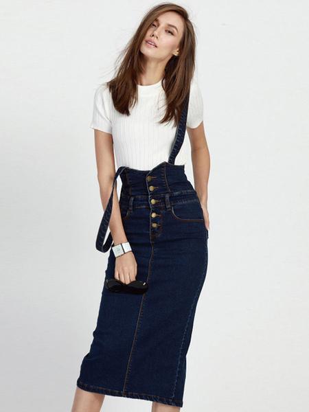 Подтяжк джинсовая юбка с карманами с пуговицами темно-синяя юбка для женщин