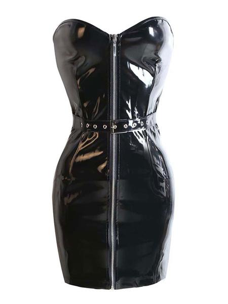 Black Bodycon Dress PVC Clubwear for Women фото