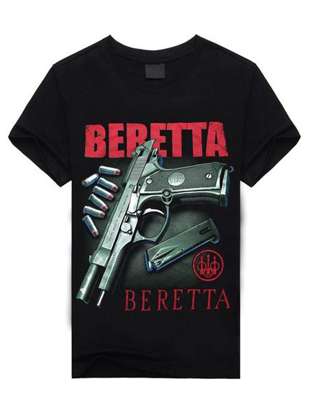 Black T-Shirt Letters Gun Print Short Sleeves Cotton T-Shirt for Men фото