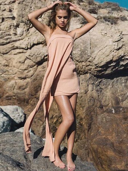 Asymmetrische Acetat-Minikleid Rosa schulterfreies Kleid