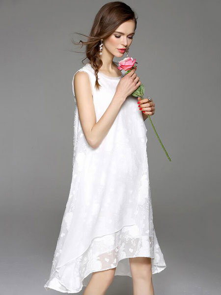 White Shift Dress High-Low Cotton Dress фото