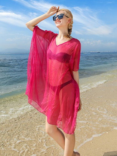 Rose Red Cover Up Semi-Sheer Chiffon Cover Up For Women фото