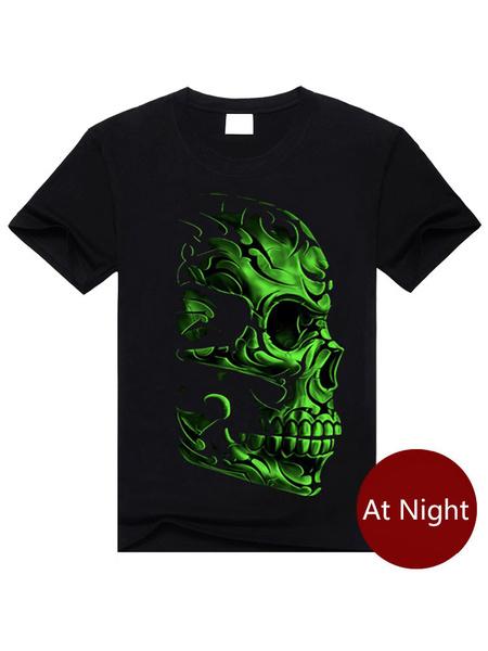 Black T-Shirt Skull Print Cotton T-Shirt for Men фото