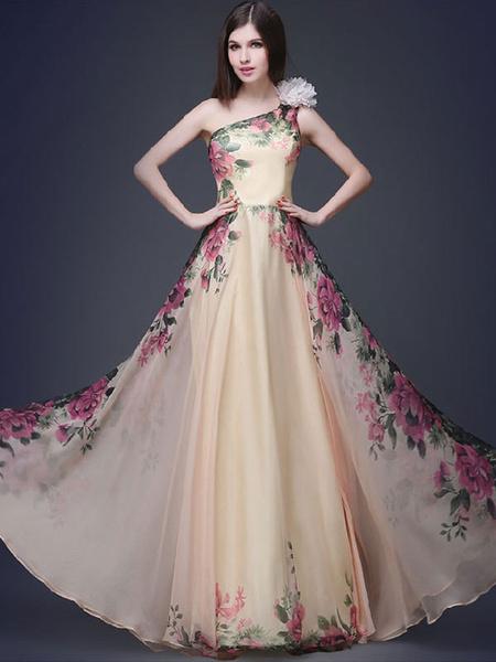 Floral Print Maxi Dress Multicolor One-Shoulder Chiffon Dress фото