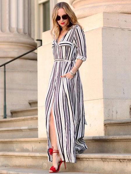 Long Shirt Dress With Mono Striped Milanoo