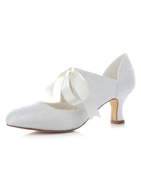 White Bridal Pumps Satin Ribbons Lace Up Wedding Heels for Women Milanoo