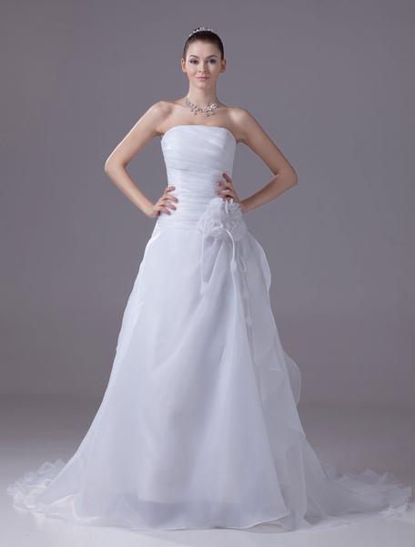 Strapless Wedding Dress A-Line Pleated Chaple Train Bridal Dress With Sash Flower