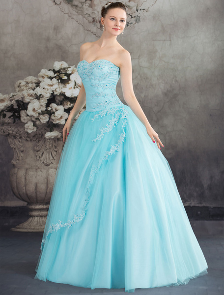 Blue Wedding Dress Ball Gown Lace Bridal Gown Strapless Sweetheart Beading Tulle Princess Backless P фото