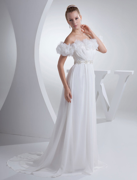 White Wedding Dress Batea Pleated Flower A-Line Chiffon Beading Chaple Train Bridal Dress фото
