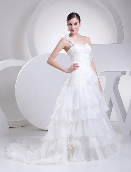 One-Shoulder Kleid Flower Strap Plissee a-Linie Organza Rüschen Chaple Zug Braut Brautkleid