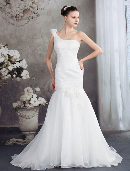 Mermaid Wedding Dress One-Shoulder Organza Pleated Flower Beading Tulle Chaple Train Bridal Dress Milanoo