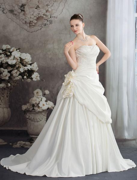 Robe Chaple Train Backless Flower appliques perles a-line mariée robe de mariée satin