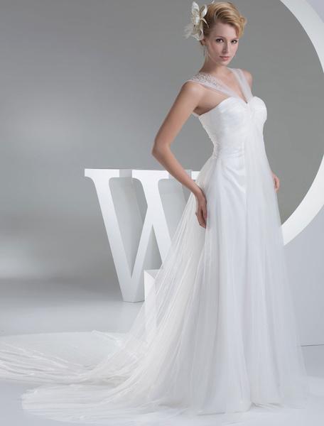 Tulle Wedding Dress Sweatheart Pleated Criss-Cross Applique Court Train A-Line Bridal Dress фото