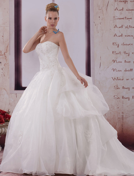 Backless Wedding Dress A-Line Strapless Lace Applique Beading Organza Pleated Chaple Train Bridal Dr фото