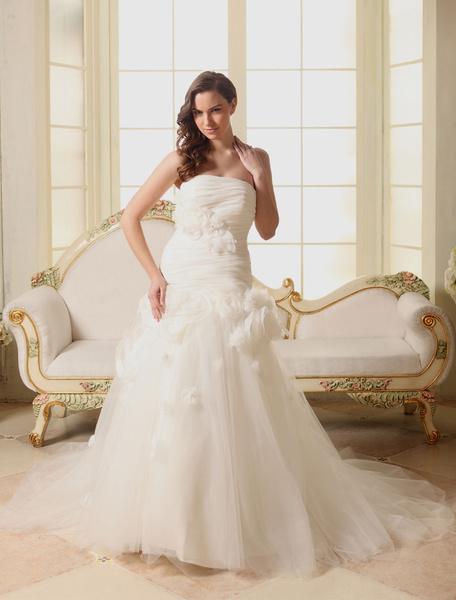 Organza Wedding Dress A-Line Strapless Pleated Tulle Flower Chaple Train Bridal Dress