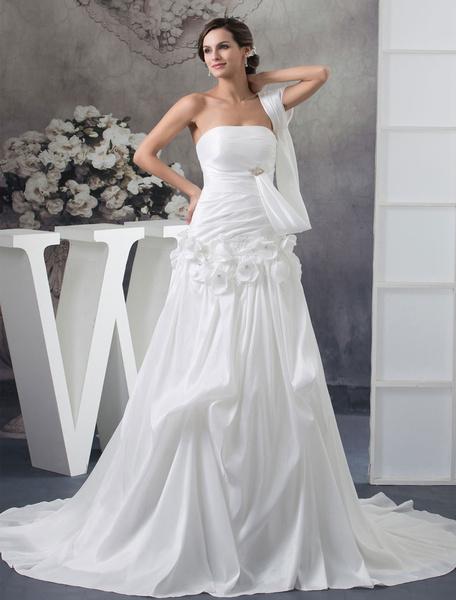 Strapless Wedding Dress A-Line Detachable Strap Rhinestones Taffeta Pleated Flower Chapel Train Brid