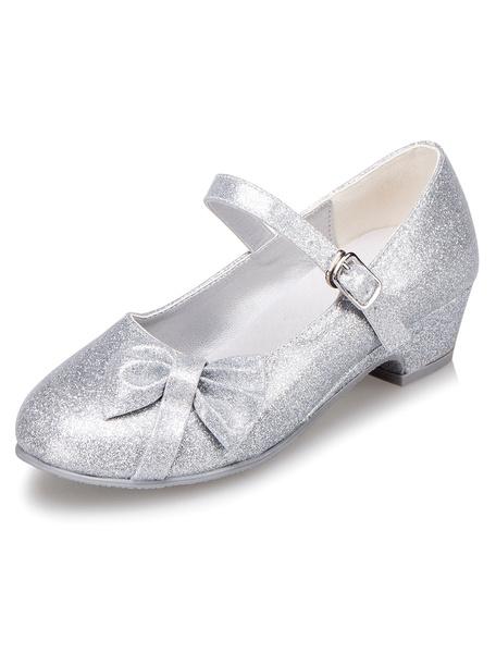 Argento fiore ragazza scarpe fiocco cinghie PU scarpe per ragazze
