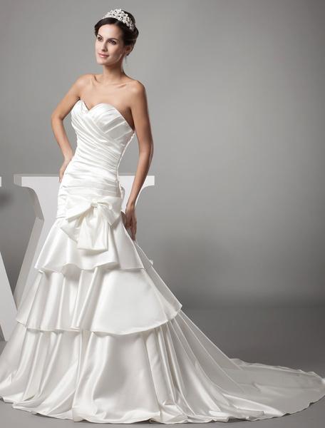 Satin Wedding Dress Sweatheart Pleated Sash Bow A-Line Tiered Chaple Train Bridal Dress фото
