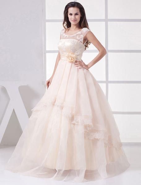 Champagne Wedding Dress Illusion Lace Applique Neckline Sash Flower Floor Length A-Line Bridal Dress