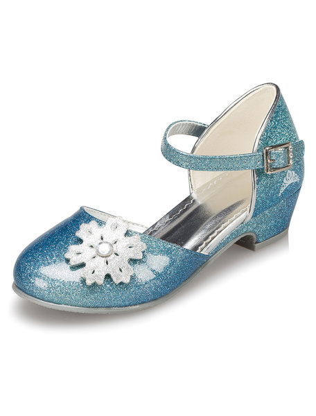 Blue Flower Girl Shoes Flowers Straps PU Shoes for Girls фото