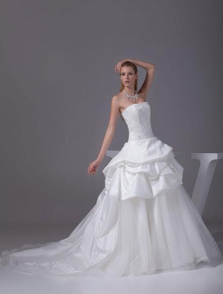 Organza robe boule bretelles perles dentelle appliques Satin plissé Chaple Train mariée robe