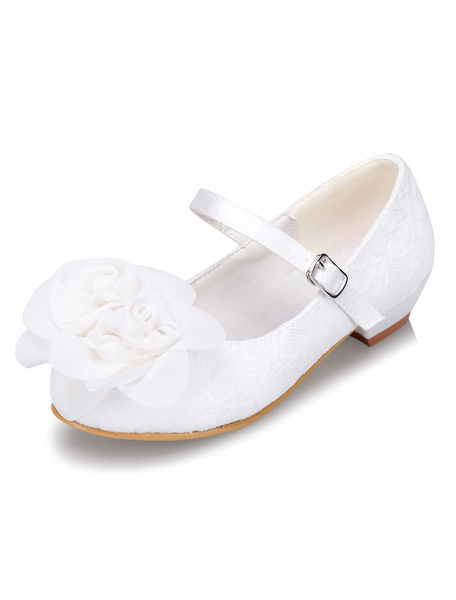 White Flower Girl Shoes Flower Lace Chic Shoes for Girls фото
