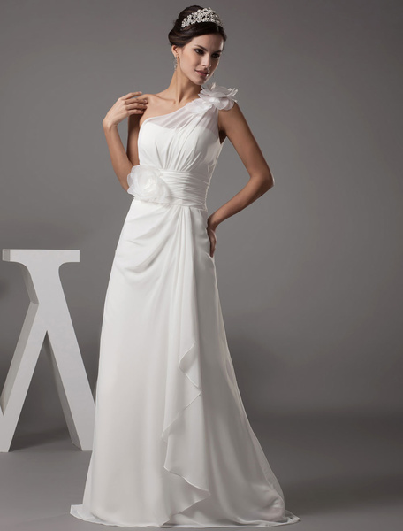 Beach Wedding Dress One-Shoulder Flower A-Line Chiffon Pleated Floor Length Bridal Dress