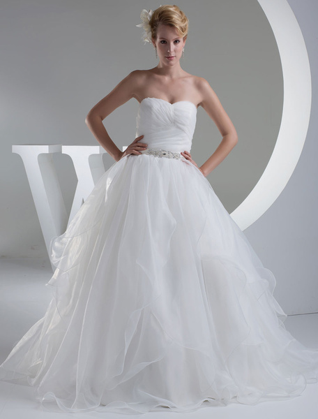Tiered Wedding Dress A-Line Sweatheart Pleated Sash Beading Floor Length Bridal Dress
