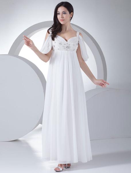 Simple Wedding Dress A-line Strap Beading Rhinestone Chiffon Pleated Floor Length Bridal Dress