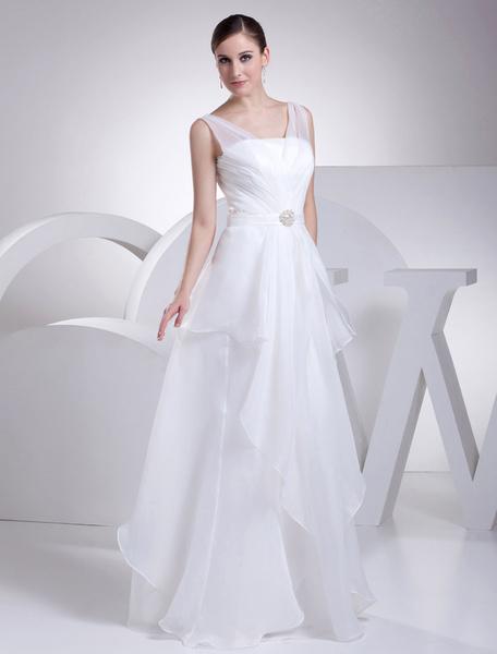 Organza Wedding Dress V-Neck Sash Rhinestone A-Line Pleated Floor Length Bridal Dress