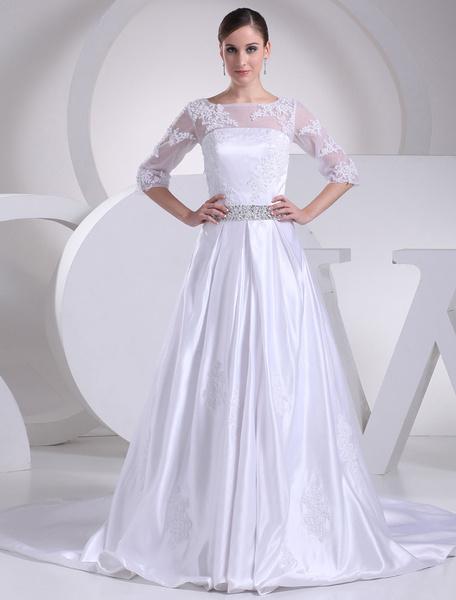 Appliques de mariée en satin robe Illusion a-ligne encolure demi manches Sash perles robe de mariée