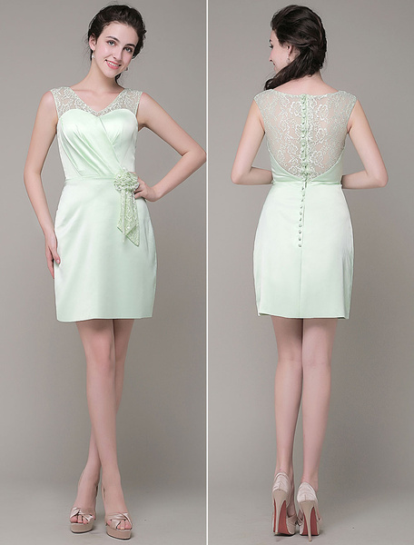 Short Homecoming Dress Illusin V-Neck Satin Pleated Lace Flower Sheath Cocktail Dress Milanoo фото