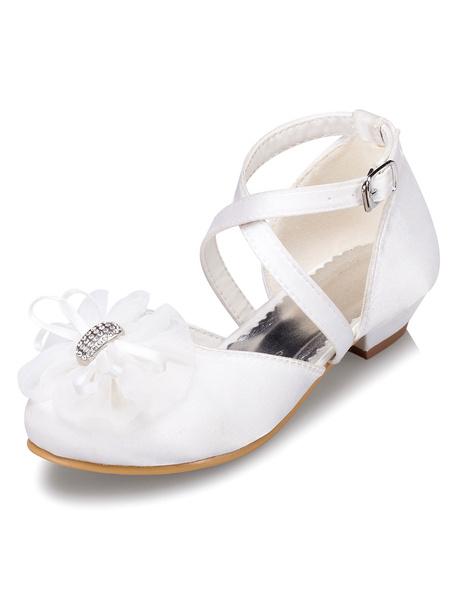 White Flower Girl Sandals Flowers Satin Shoes for Girls фото