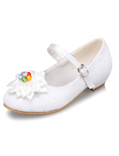 White Flower Girl Shoes Lace Flowers Straps PU Shoes for Girls фото