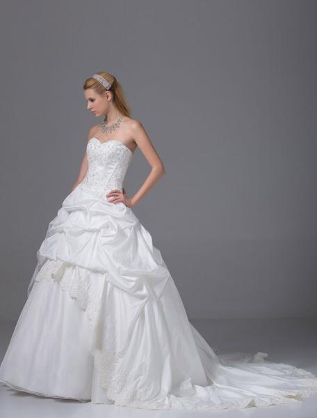 Robe de mariée douce boule perles appliques Satin plissé Chaple traîne avec bordure ajourée
