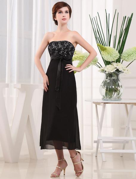 9fd060b964d69 A-Line Bridesmaid Dress Strapless Lace Tea-Length Cocktail Dress With Sash  Bow - milanoo.com - imall.com