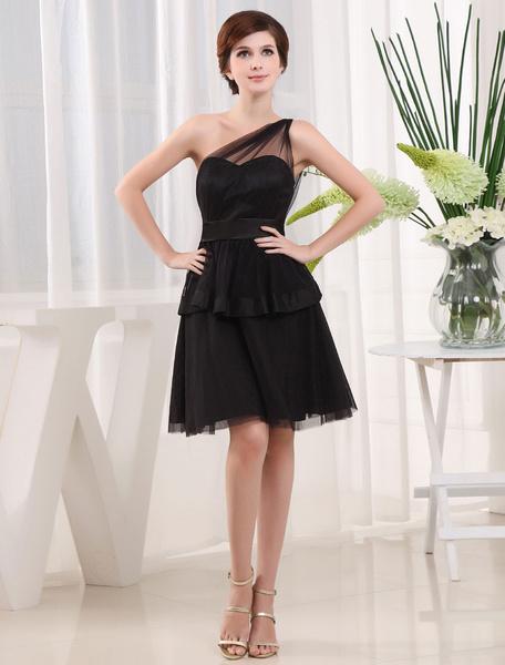 Black Bridesmaid Dress One-Shoulder A-Line Satin Sash Tulle Pleated Knee-Length Cocktail Dress фото