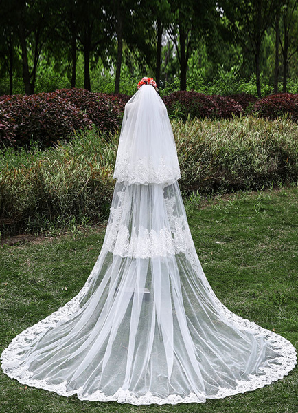 Cathedral Wedding Veils Lace Applique Edge Three-Tier Tulle Waterfall Veils With Comb(300cm Length)